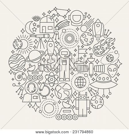 Space Line Icons Circle. Vector Illustration Of Universe Outline Objects.