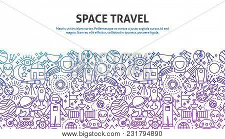 Space Travel Concept. Vector Illustration Of Line Web Design. Banner Template.