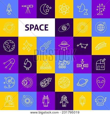 Vector Space Line Icons. Thin Outline Exploration Symbols Over Colorful Squares.