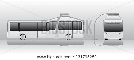Autonomous Electric Bus At The Charging Station. Vector Illustration Eps 10.