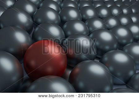 One Red And Silver Spheres, Conceptual 3d Render.