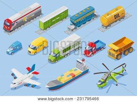 Isometric Logistic Transportation Set With Car Van Trucks Airplane Ship Helicopter Freight Train Wag