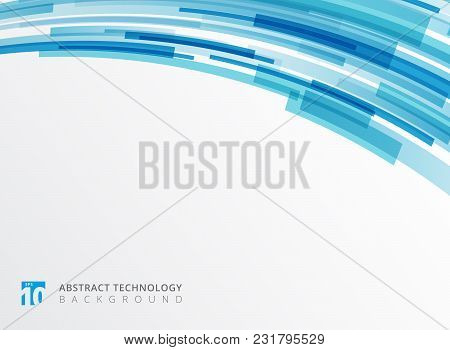 Abstract Technology Curve Overlapped Geometric Squares Shape Blue Colour On White Background With Co