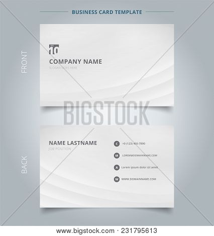 Creative Business Card And Name Card Template Striped Curve Lines Smooth Gray And White Color Backgr