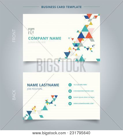 Creative Business Card And Name Card Template Modern Colorful Triangles Pattern Elements On White Ba