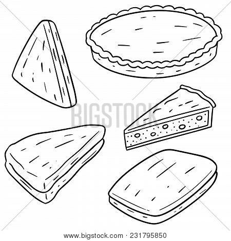 Vector Set Of Pie Hand Drawn Cartoon
