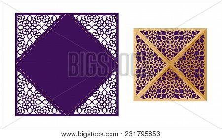 Laser Cut Ornamental Lace-bordered Vector Template. Luxury Greeting Card, Envelope Or Wedding Invita