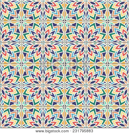 Vector Seamless Pattern, Based On Traditional Wall And Floor Tiles Mediterranean Style. Mosaic Patch
