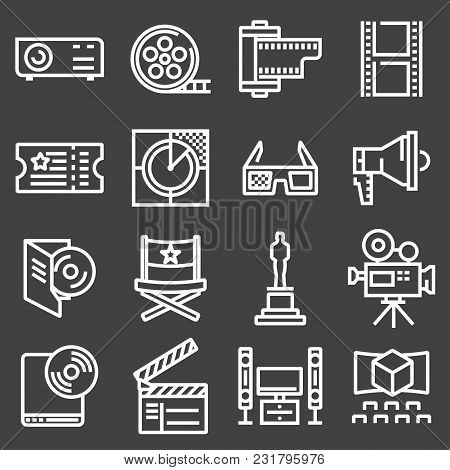 Set Of Line Cinema Icon. Vector Illustration