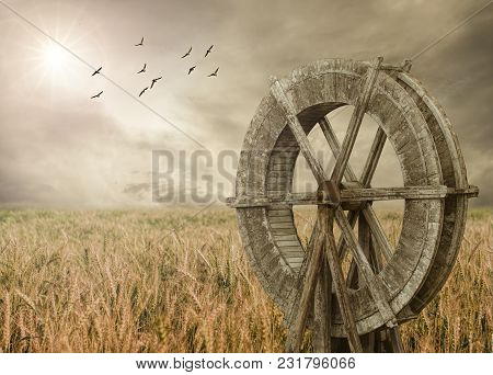 Watermill And Wheat Farm. Rural Landscape With Birds.