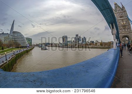 London, England - November 27, 2017: City View Of London Over River Thames From Tower Bridge, With S