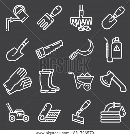 Web Icons Set - Gardening, Tools On Gray Background