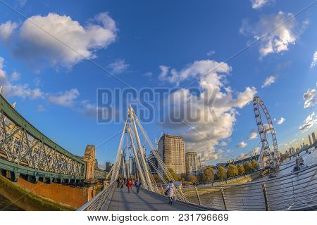 London, England - November 29, 2017: View With Famous London Eye From Golden Jubilee And Hungerford