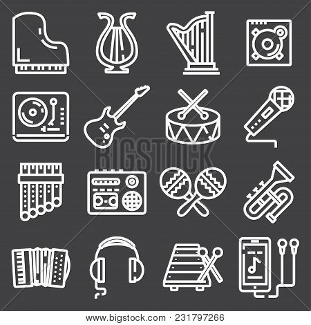 Simple Set Of Music Related Vector Line Icons. Contains Such Icons As Guitar, Treble Clef, In-ear He