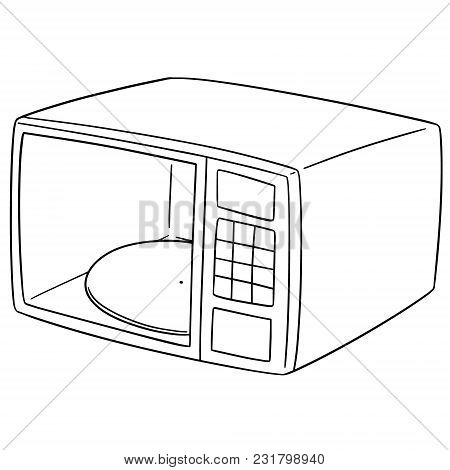 Vector Set Of Microwave Oven Hand Drawn Cartoon