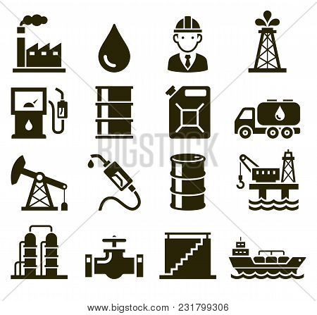 Oil Industry Sign Icons Set. Vector Illustrations.