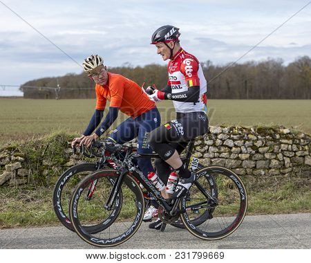Fains-la-folie, France - March 5, 2018: Andre Greipel Of Lotto-soudal Team And Heinrich Haussler Of