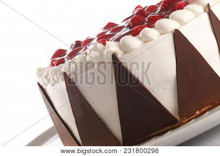 Close Up Shot Of Fruitcake, On A White Background