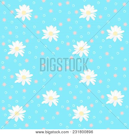 Seamless Natural Pattern With Daisy Flowers And Stars On Blue Background.