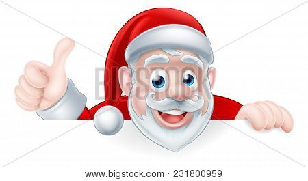 An Illustration Of A Cute Cartoon Santa Peeking Above A Sign Giving A Thumbs Up