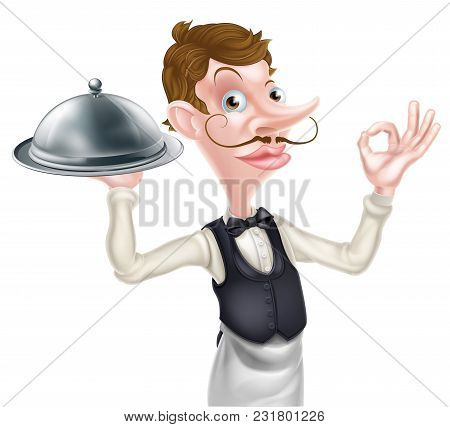 An Illustration Of A Cartoon Waiter Doing A Perfect Or Okay Sign And Holding A Siver Platter Dome