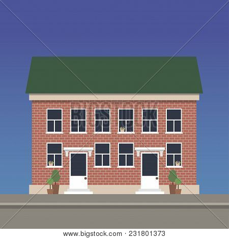 Two-story Apartment House Made Of Red Brick With Two Entrances. Vector Illustration.