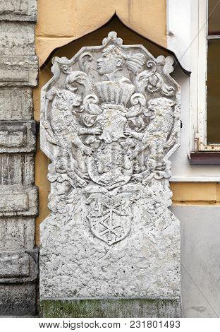 Door Of The Brotherhood Of Blackheads Building In Tallinn, Estonia