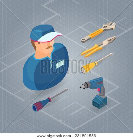 Builder In Uniform, Professional Tools Screwdriver, Drill, Wrench, Pliers. Worker, Equipment And Ite