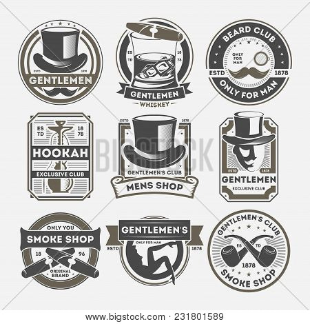 Gentleman Vintage Label Set Isolated Vector Illustration. Smoke Shop Badge, Beard Club Logo, Only Fo