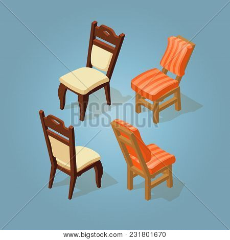 Isometric Cartoon Chairs Icon Set Isolated On Blue. Chairs With White And Orange Striped Upholstery.