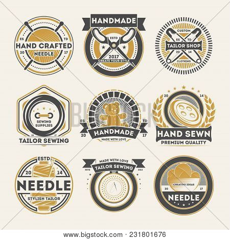 Tailor Shop Vintage Label Set Isolated Vector Illustration. Handmade Studio Badge, Handcrafted Needl