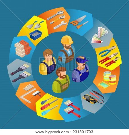Builders In Uniform, Professional Tools. Worker, Equipment And Items Isometric Icons In Circle Shape