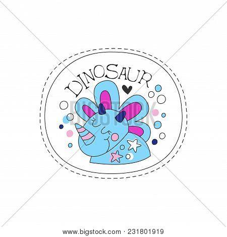 Dinosaur Childish Patch Badge, Cute Funny Cartoon Animal Sticker Hand Drawn Vector Illustration Isol