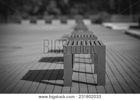 Modern Architecture Park With Comfortable Bench In Detail