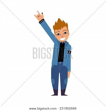 Young Cartoon Rock Man Staying And Making Hand Horns Gesture Isolated On White Background. Character