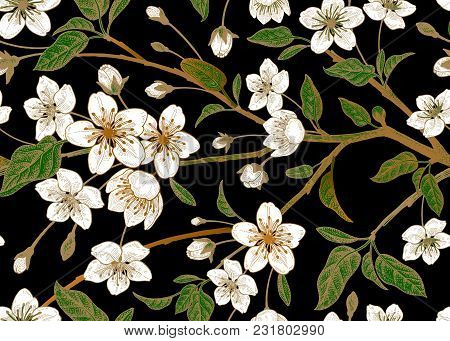 Spring  Floral Vintage Seamless Pattern With Japanese Cherry. Branches, Leaves And Flowers Of The Sa
