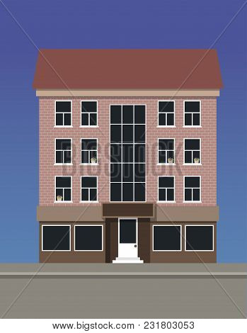 A Multi-storey Apartment House Made Of Pink Brick. Vector Illustration.