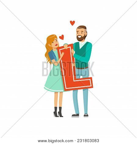 Happy Couple In Love Holding Red Letter L Vector Illustration Isolated On A White Background.