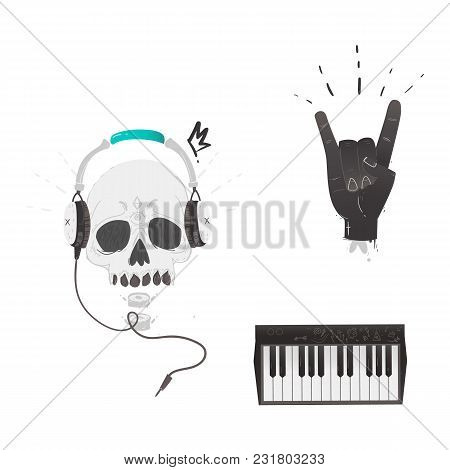 Vector Flat Music Symbols Set. Hand Showing Rock And Roll Sign Gesture By Fingers, Skull In Headphon