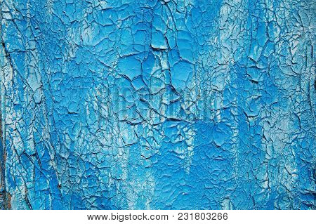 Wooden, Painted In Blue Paint, Shabby Background