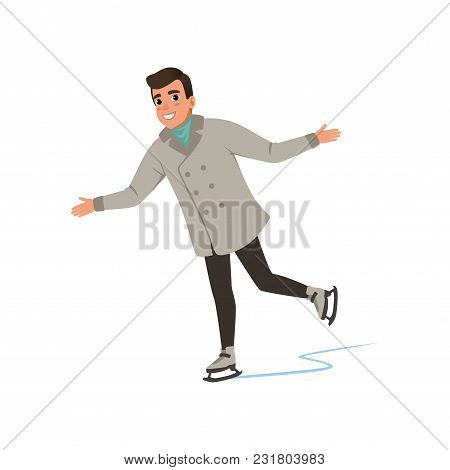 Smiling Young Man In Warm Clothes Ice Skating Vector Illustration Isolated On A White Background.