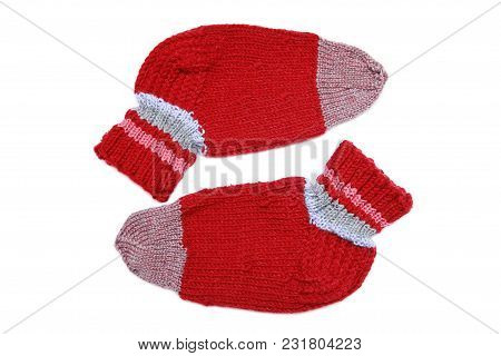 Knitted Wool Red Socks On A White Background
