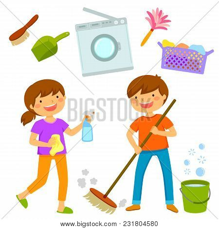 Happy Boy And Girl Cleaning The House And Doing Chores Together