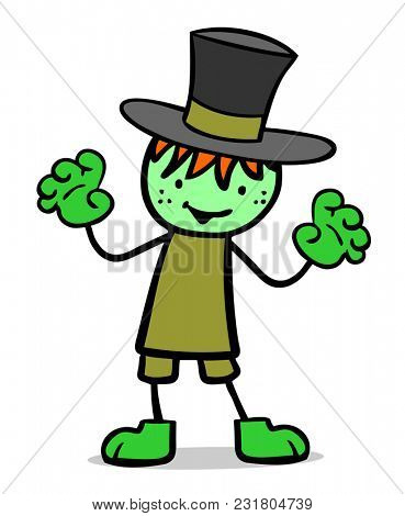 Cartoon child on Halloween or carnival in costume as Frankenstein monster