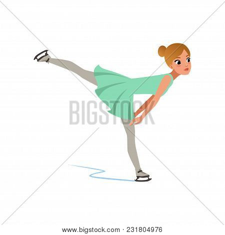 Figure Skater Girl In Short Dress Skating, Female Athlete Practicing At Indoor Skating Rink Vector I