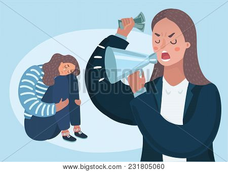 Vector Cartoon Illustation Of Angry Upset Mother Character Scolds Her Crying Naughty Teenager Daught