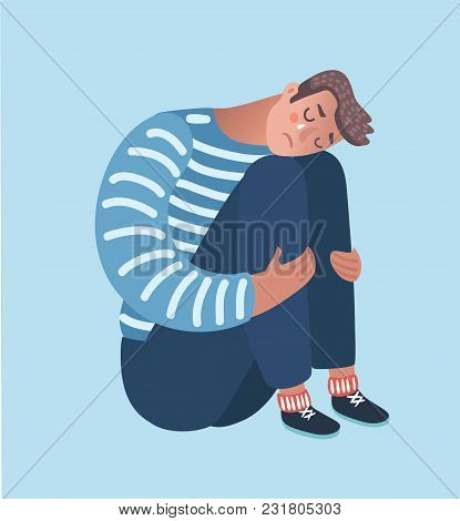 Vector Cartoon Illustration Of Despaired Man Hug His Knee And Cry When Sitting Alone On The Floor. I