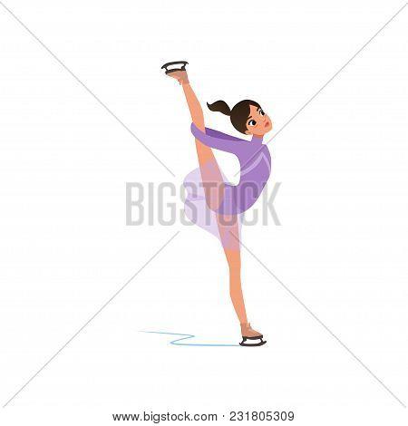 Beautiful Flexible Figure Skater Girl In Short Dress Skating, Female Athlete Practicing At Indoor Sk