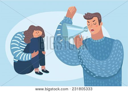 Vector Cartoon Illustration Of Despaired Woman Hug Shes Knee And Cry When Sitting On The Floor Angry