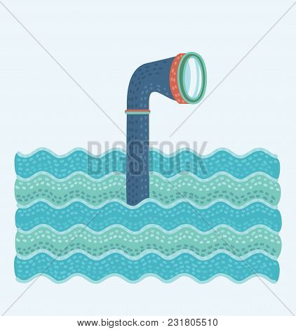 Vector Cartoon Illustation Of Metal Periscope In The Waves Above The Water.